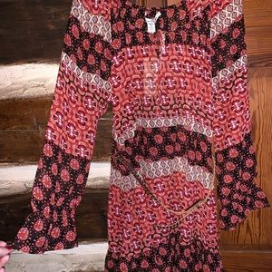 NWT American Rag red boho belted dress
